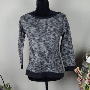 PAPILLON Sweater Black White Knit 3/4 Sleeve
